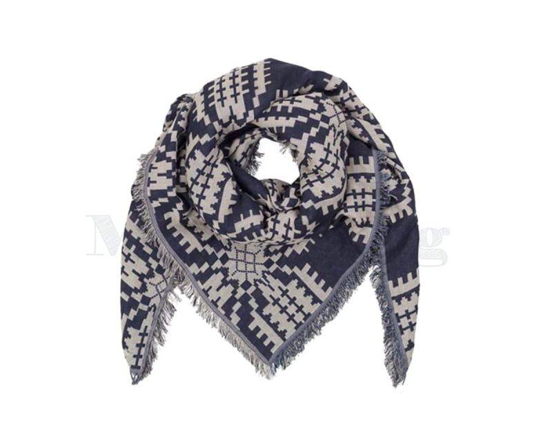BeckSondergaard-shawl-katoen-Tulips-classic-navy