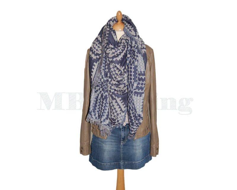 BeckSondergaard-shawl,-katoen-Tulips-classic-navy