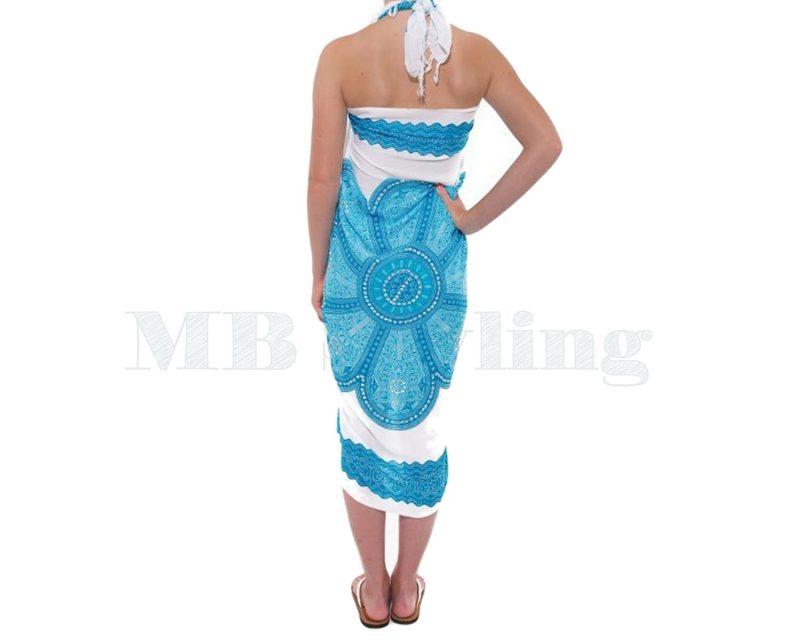 Sarong Pareo White Turquoise