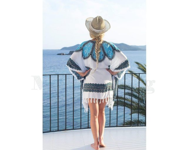 Pure Kenya Sarong-dress-White-blue