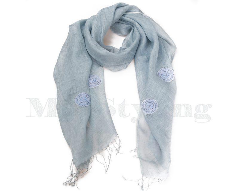 Shawl-Silkroute,-Linnen,-AE-180-Licht-blauw