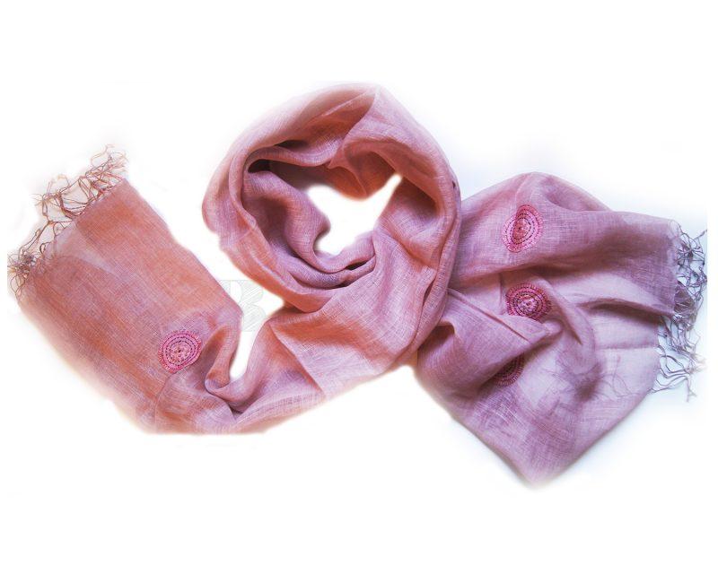 Shawl Silkroute linnen AE-180 Roze