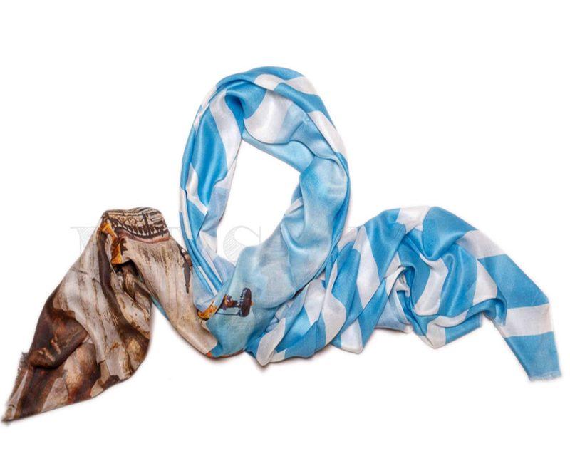 Shawl Silkroute modal blauw wit