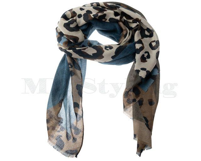 Shawl-katoen-viscose-panterprint-jeansblauw-zwart-ecru-camel
