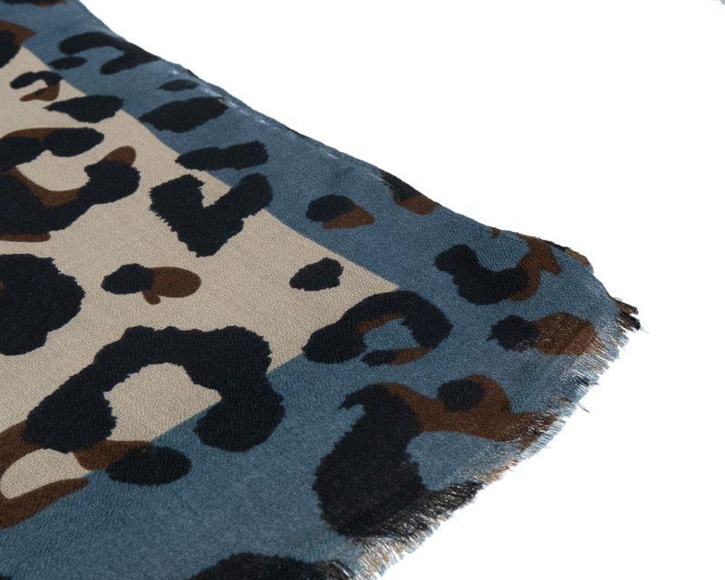 Shawl katoen viscose panterprint jeansblauw zwart ecru camel