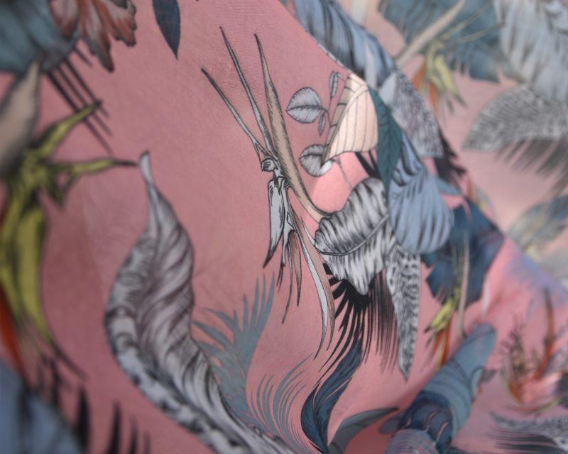 Shawl, katoen viscose, tropisch dessin, roze