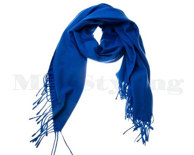 Shawl-katoen-viscose-wol-effen---kobalt-blauw