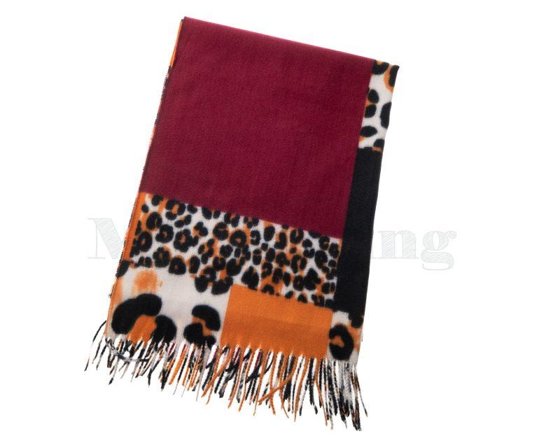 Shawl-wol-viscose-katoen-panterprint-blokken-rood
