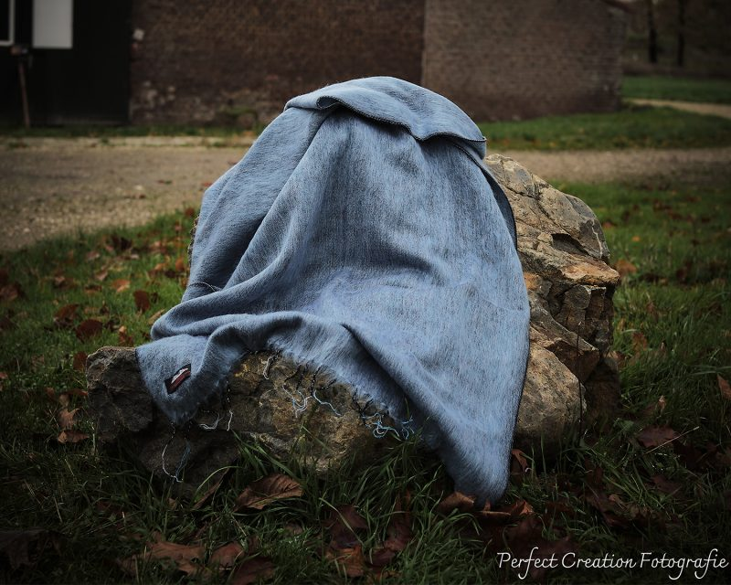 Sjaal Nepal Effen Shawl - Blauw Grijs