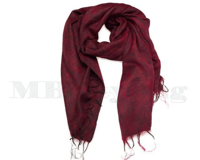 Sjaal-Nepal-Effen-Shawl---Bordeauxrood