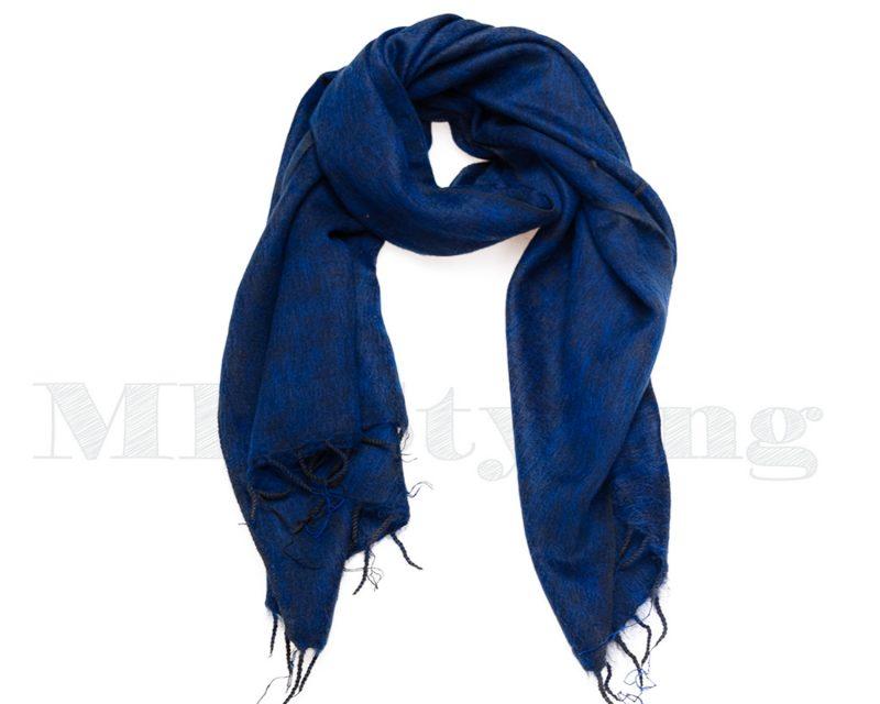 Sjaal-Nepal-Effen-Shawl-Donkerblauw