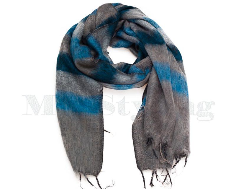 Sjaal-Nepal-Effen-Shawl-Grijs-Blauw-gestreept