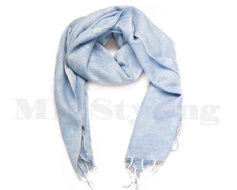 Sjaal-Nepal-Effen-Shawl-Lichtblauw