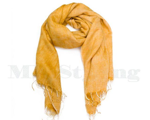 Sjaal-Nepal-Effen-Shawl-Zonnebloem geel