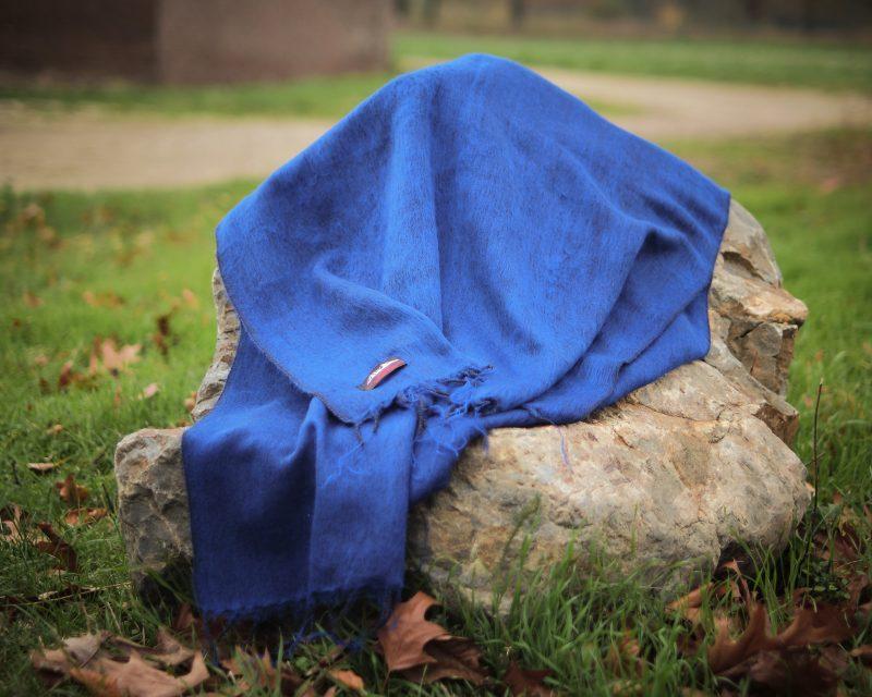 Sjaal Nepal Effen Shawl - Koningsblauw