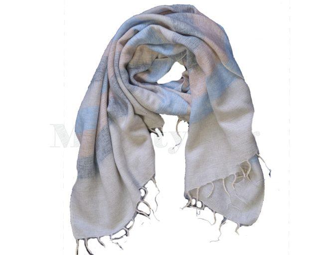 Sjaal-Yakwol-Effen-Shawl-Lichtblauw-gestreept