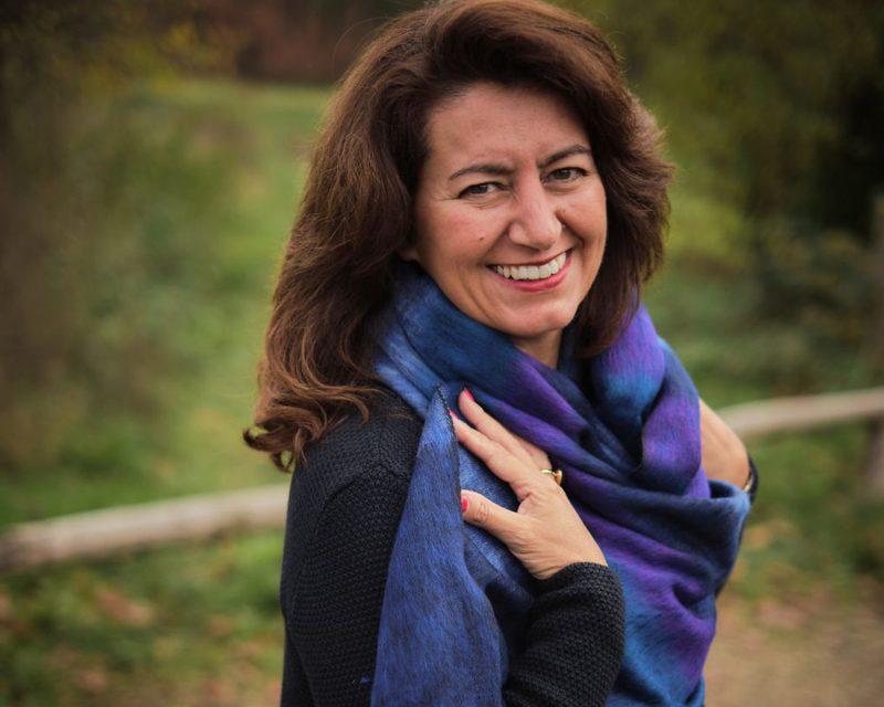 Sjaal Nepal Effen Shawl - Paars gestreept