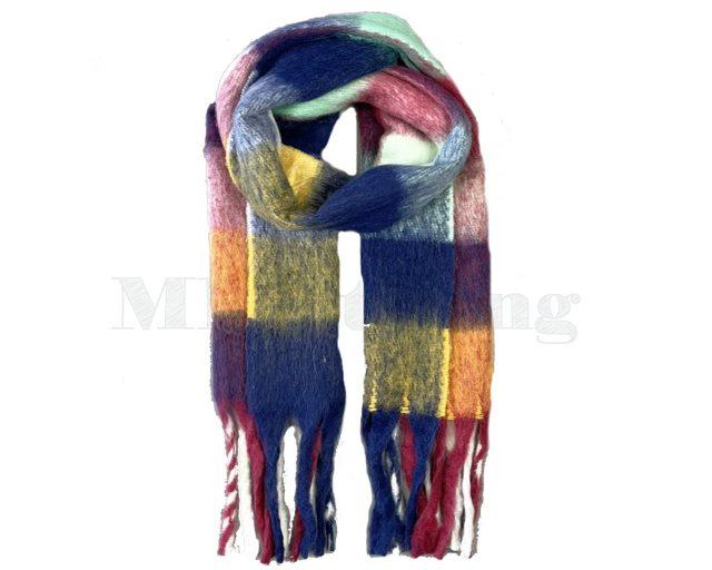 Sjaal Cashmere Viscose Winter Geblokt - Donkerblauw