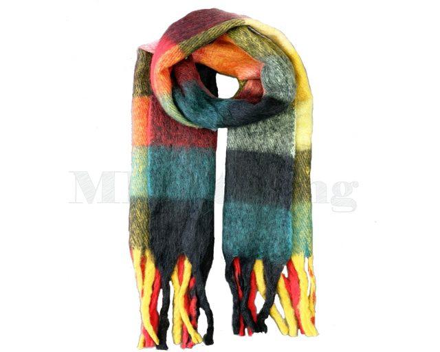 Sjaal Cashmere Viscose Winter Geblokt - Donkergroen