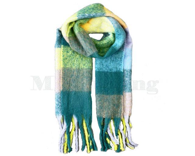 Sjaal Cashmere Viscose Winter Geblokt - Groen