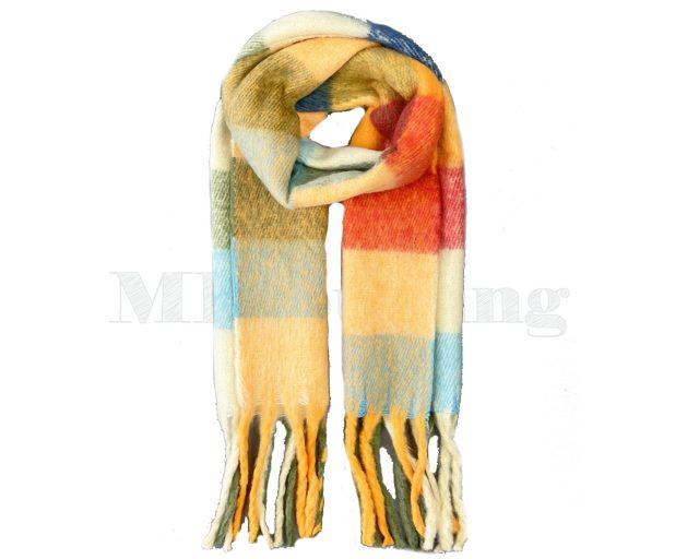 Sjaal Cashmere Viscose Winter Geblokt - Oranje