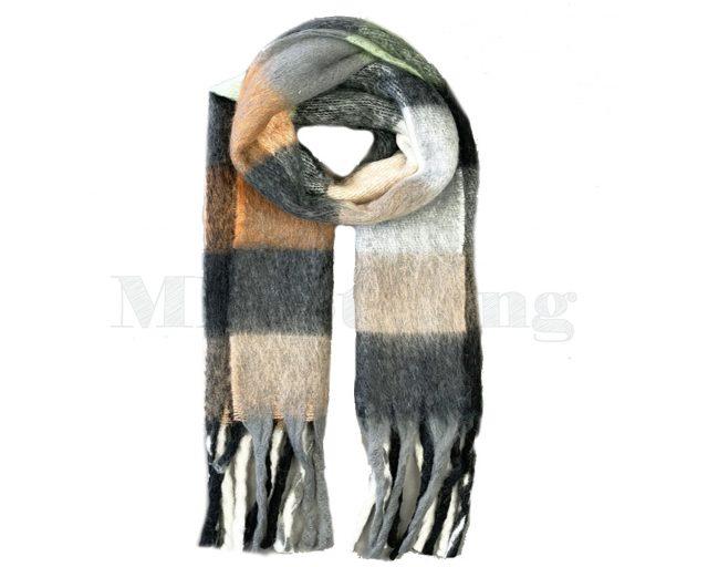 Sjaal Cashmere Viscose Winter Geblokt - Zwart