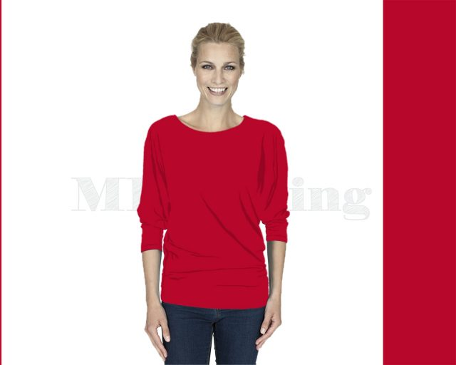 Slippely shirt driekwart mouw viscose 17063 Chili Pepper