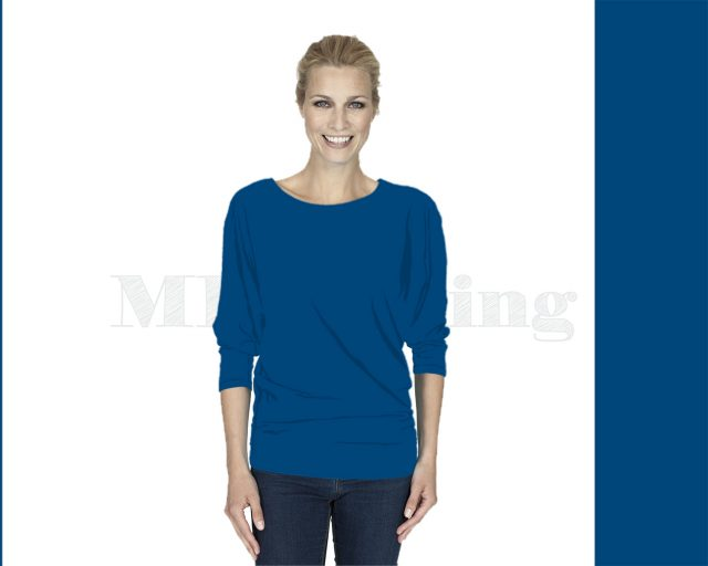 Slippely shirt driekwart mouw viscose 17063-strongblue