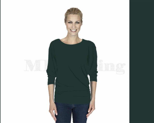 Slippely shirt, driekwart mouw, viscose, 17063,Smaragd
