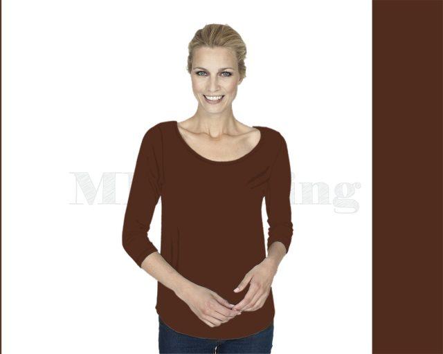 Slippely shirt, driekwart mouw, viscose, 17067, Dark brown