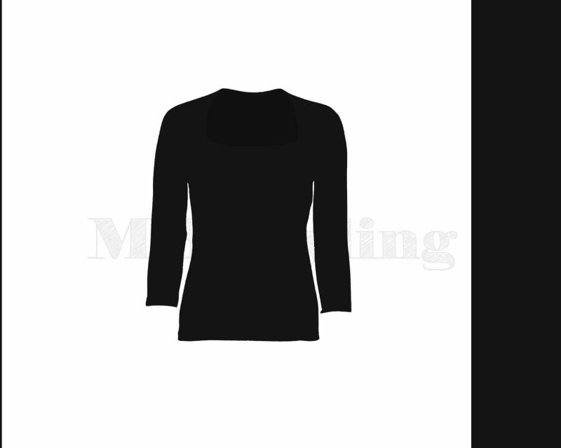 Slippely shirt driekwart mouw viscose 4741 Tulp halslijn Black (zwart)