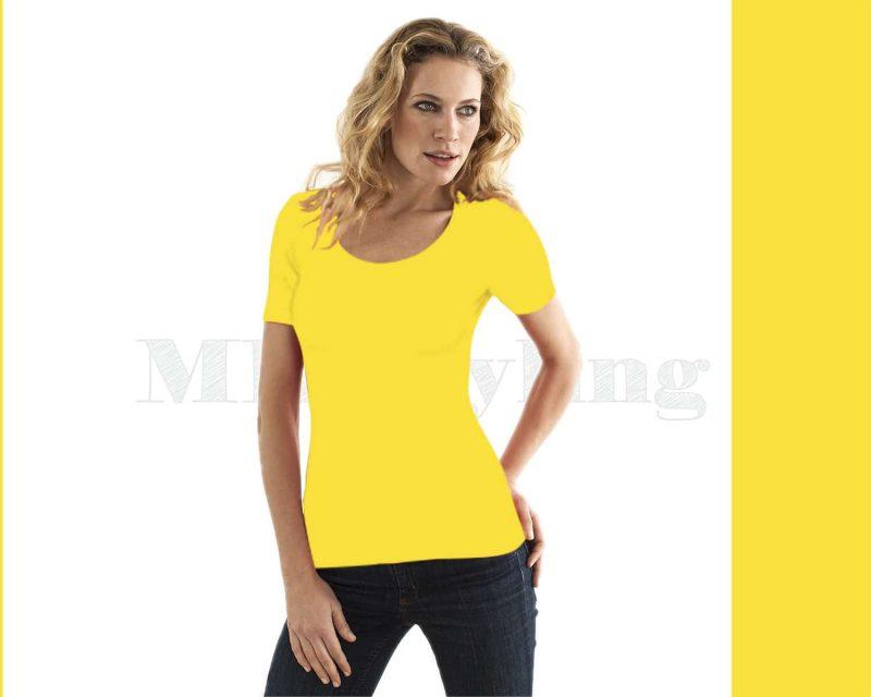 Slippely shirt korte mouw viscose 17732 - Yellow (geel)