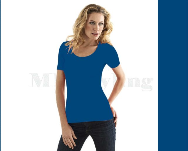 Slippely shirt korte mouw viscose 17732 Strong Blue (blauw)