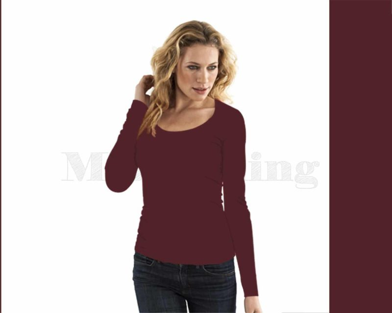 Slippely shirt, lange mouw, viscose, 17730, Plum