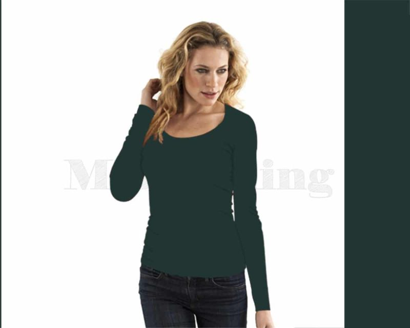 Slippely shirt, lange mouw, viscose, 17730, smaragd