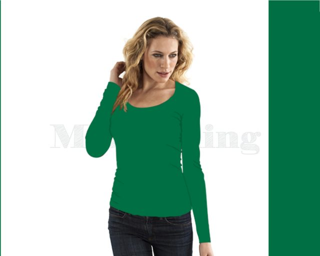 Slippely shirt lange mouw viscose 17730 Green