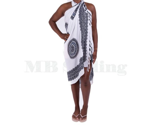 Pure Kenya Sarong Pareo White Black