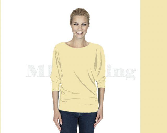Slippely shirt driekwart mouw viscose 17063 Pastel Yellow (Pastel geel)
