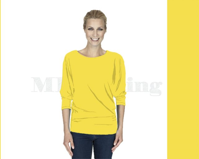 Slippely shirt driekwart mouw viscose 17063 Illuminating (geel)
