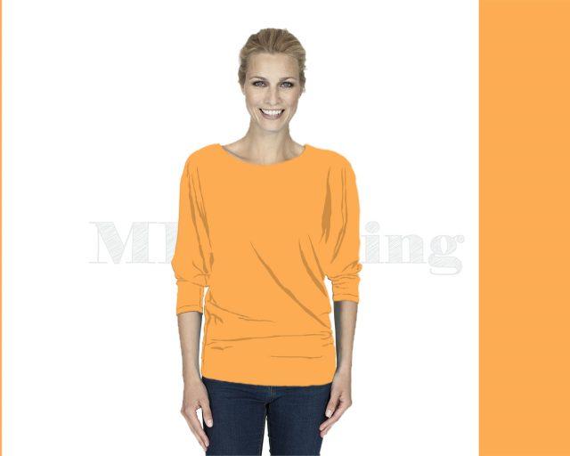 Slippely shirt driekwart mouw viscose 17063 Marigold (Oranje)