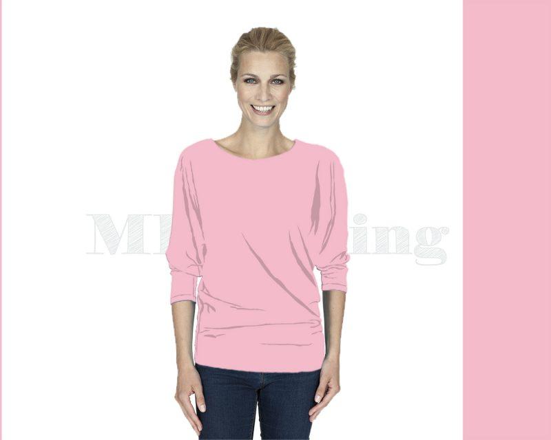 Slippely shirt driekwart mouw viscose 17063 Orchid Pink (roze)