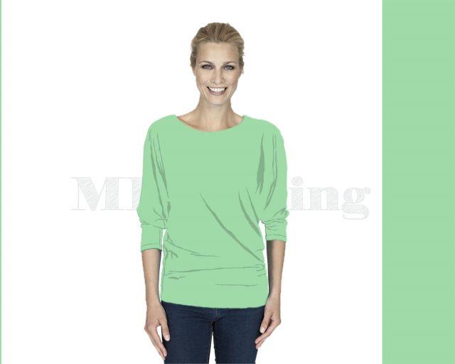 Slippely shirt driekwart mouw viscose 17063 Green Ash (groen)