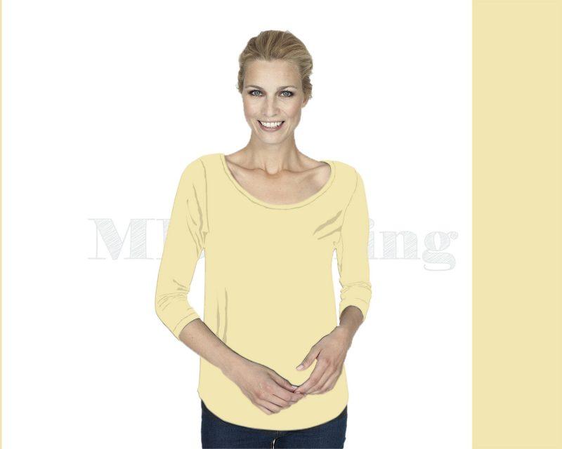 Slippely shirt driekwart mouw crêpe viscose 17067 Pastel Yellow