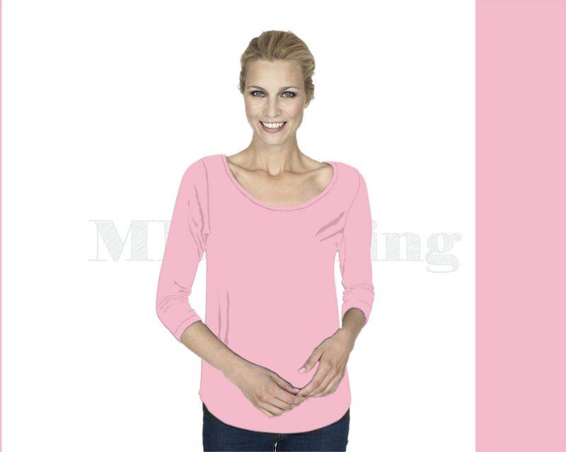 Slippely shirt driekwart mouw viscose 17067 Orchid Pink