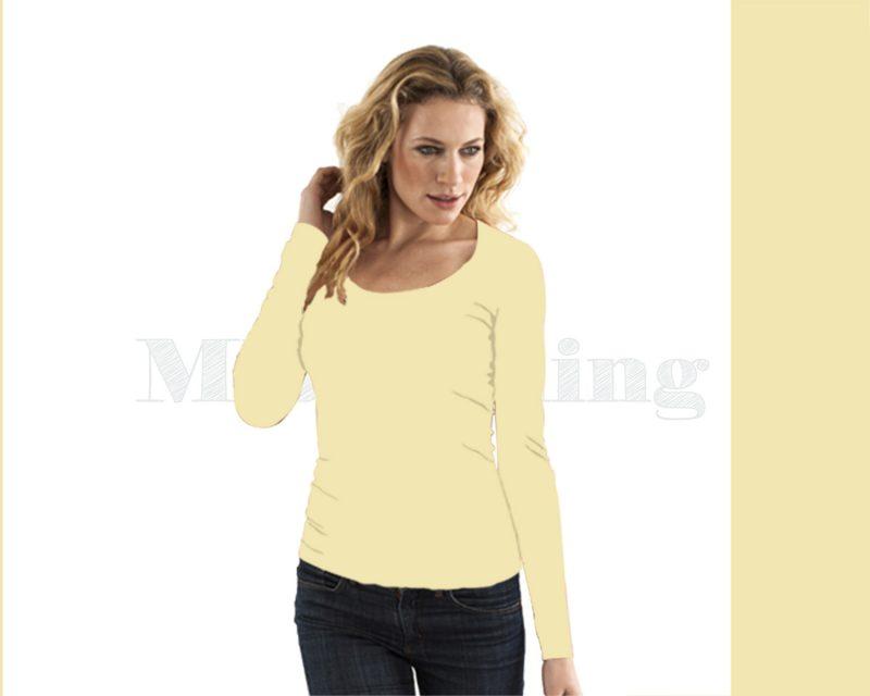 Slippely shirt lange mouw viscose 17730 Pastel Yellow