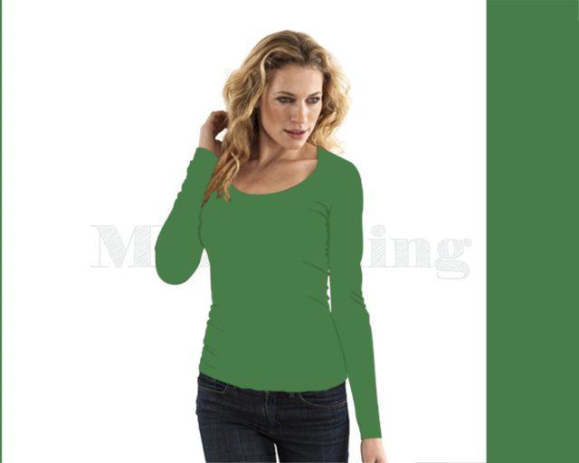 Slippely shirt lange mouw viscose 17730 Mint Green