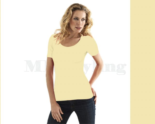 Slippely shirt korte mouw viscose 17732 Pastel Yellow