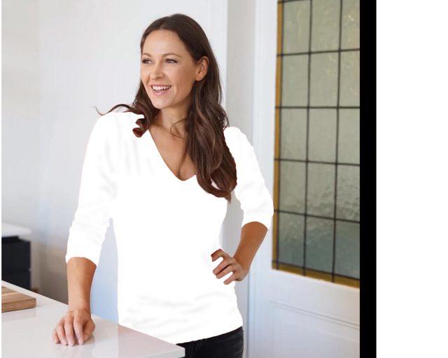 Slippely shirt driekwart mouw viscose V-hals 17800 - White