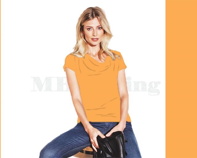 Slippely shirt korte mouw viscose SL 02663 - Marigold (Oranje)