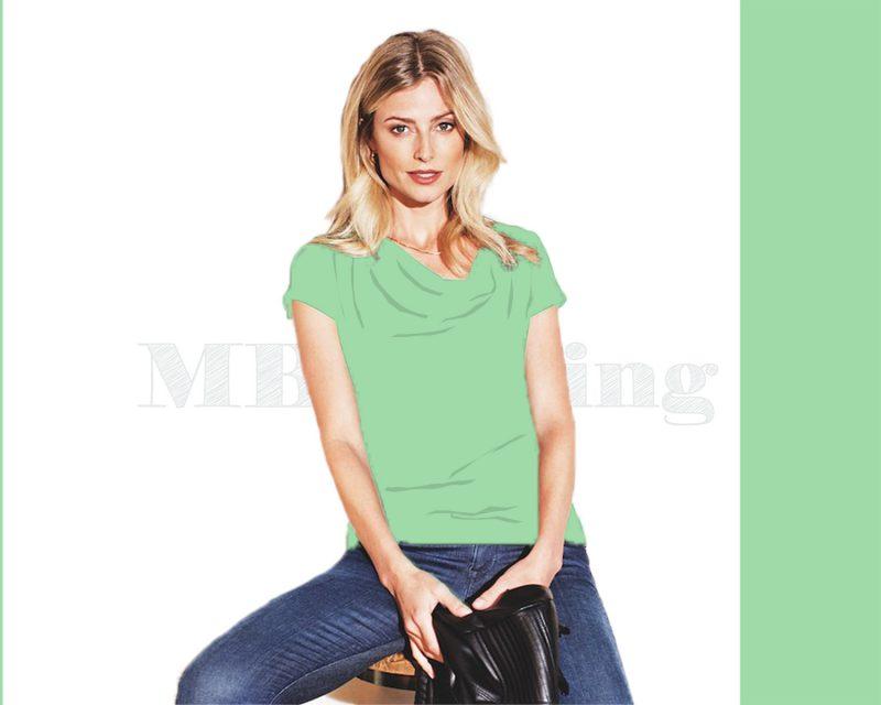 Slippely shirt korte mouw viscose SL 02663 - Green Ash
